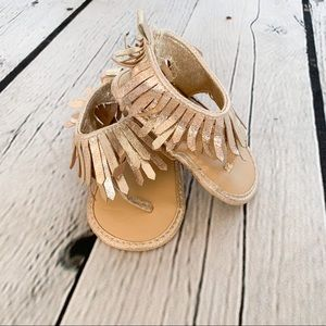 Gold Glam Baby Moccasin Sandals